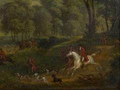 British School 19th C Antique Oil Landscape Painting of A Hunting Party  - 1089231