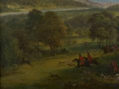 British School 19th C Antique Oil Landscape Painting of A Hunting Party  - 1089232