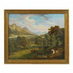 British School 19th C Antique Oil Landscape Painting of A Hunting Party  - 1089234