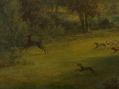 British School 19th C Antique Oil Landscape Painting of A Hunting Party  - 1089236