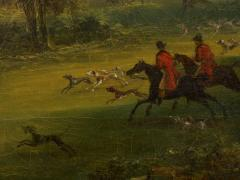 British School 19th C Antique Oil Landscape Painting of A Hunting Party  - 1089237