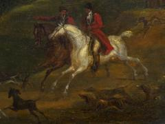 British School 19th C Antique Oil Landscape Painting of A Hunting Party  - 1089238