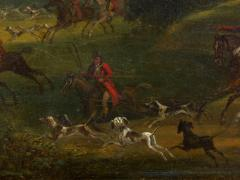 British School 19th C Antique Oil Landscape Painting of A Hunting Party  - 1089239