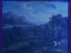 British School 19th C Antique Oil Landscape Painting of A Hunting Party  - 1089241