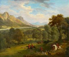 British School 19th C Antique Oil Landscape Painting of A Hunting Party  - 1090155