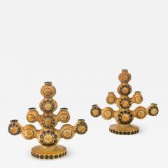 Britt Louise Sundell Britt Louise Sundell for Gustavsberg Pair of Swedish Stoneware Candelabra - 1065861