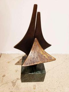 Bronze Brutalist Style Sculpture on Marble Base C 20th Century - 1307453