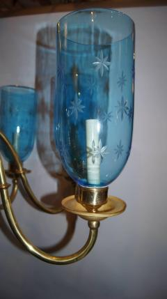 Bronze Chandelier with Etched Glass Hurricanes - 657310
