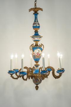Bronze Mounted Sevres Porcelain Seven Arm Chandelier - 1170390