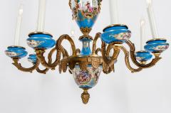 Bronze Mounted Sevres Porcelain Seven Arm Chandelier - 1170391