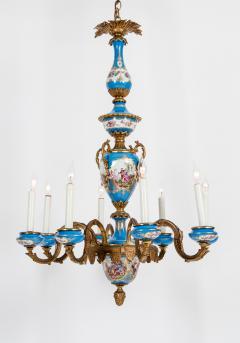 Bronze Mounted Sevres Porcelain Seven Arm Chandelier - 1170392
