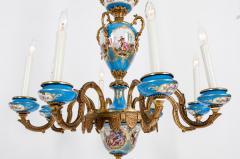 Bronze Mounted Sevres Porcelain Seven Arm Chandelier - 1170393