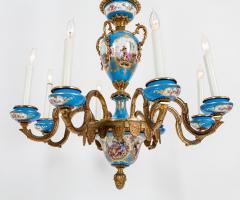 Bronze Mounted Sevres Porcelain Seven Arm Chandelier - 1170394