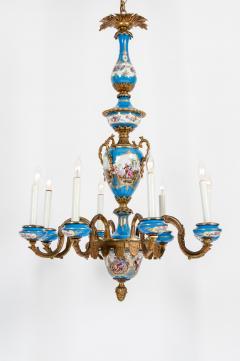 Bronze Mounted Sevres Porcelain Seven Arm Chandelier - 1170406