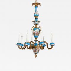 Bronze Mounted Sevres Porcelain Seven Arm Chandelier - 1171264