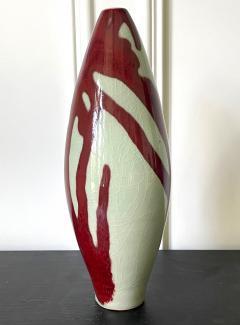 Brother Thomas Bezanson Porcelain Celadon Vase with Copper Glaze by Brother Thomas Bezanson - 1982866