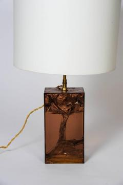 Brown Fractal Resin and Brass Table Lamp - 721491