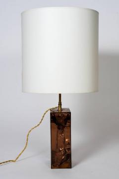 Brown Fractal Resin and Brass Table Lamp - 721492