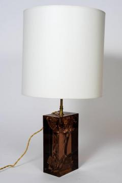 Brown Fractal Resin and Brass Table Lamp - 721493