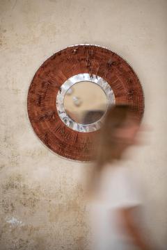 Brown Leather Fringe Mirror - 1616579