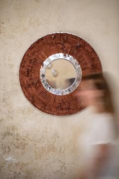 Brown Leather Fringe Mirror - 1616580