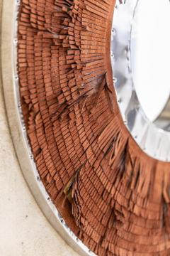 Brown Leather Fringe Mirror - 1616581