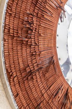 Brown Leather Fringe Mirror - 1616585