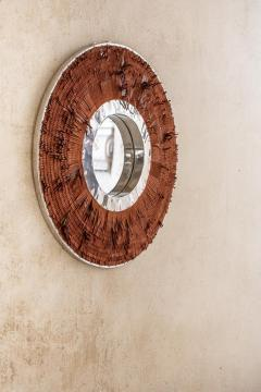 Brown Leather Fringe Mirror - 1616595