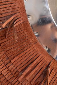 Brown Leather Fringe Mirror - 1616597