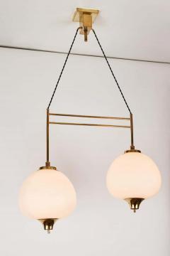 Bruno Chiarini 1950s Bruno Chiarini Double Pendant Suspension Lamp for Stilnovo - 1769708