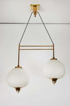 Bruno Chiarini 1950s Bruno Chiarini Double Pendant Suspension Lamp for Stilnovo - 1769709