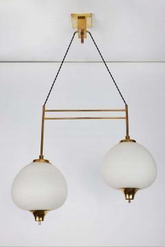 Bruno Chiarini 1950s Bruno Chiarini Double Pendant Suspension Lamp for Stilnovo - 1769712