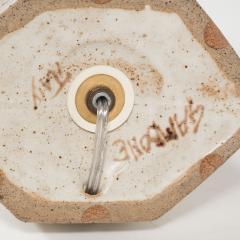 Bruno Gambone White ceramic lamp with brown details by Bruno Gambone - 1510782