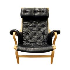 Bruno Mathsson Bruno Mathsson Pernilla Loung Chair with Tufted Black Leather 1969 signed  - 898925