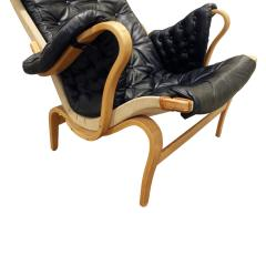 Bruno Mathsson Bruno Mathsson Pernilla Loung Chair with Tufted Black Leather 1969 signed  - 898926