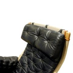 Bruno Mathsson Bruno Mathsson Pernilla Loung Chair with Tufted Black Leather 1969 signed  - 898931