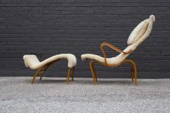Bruno Mathsson Early Production Bruno Mathsson Pernilla Lounge Chair and Ottoman in Sheepskin - 1371821