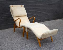 Bruno Mathsson Early Production Bruno Mathsson Pernilla Lounge Chair and Ottoman in Sheepskin - 1371823