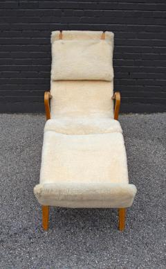 Bruno Mathsson Early Production Bruno Mathsson Pernilla Lounge Chair and Ottoman in Sheepskin - 1371825