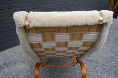 Bruno Mathsson Early Production Bruno Mathsson Pernilla Lounge Chair and Ottoman in Sheepskin - 1371830