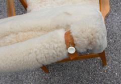 Bruno Mathsson Early Production Bruno Mathsson Pernilla Lounge Chair and Ottoman in Sheepskin - 1371832