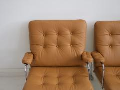 Bruno Mathsson Pair of Bruno Mathsson Brown Leather Karin Lounge Chairs - 1296170