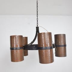 Brutalist Architectural Chandelier Hammered Copper Iron Vintage 1960s Mexico - 1553718