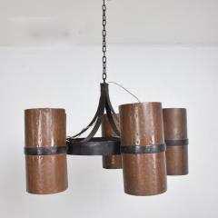 Brutalist Architectural Chandelier Hammered Copper Iron Vintage 1960s Mexico - 1553719