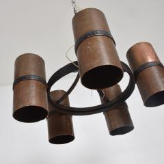 Brutalist Architectural Chandelier Hammered Copper Iron Vintage 1960s Mexico - 1553720
