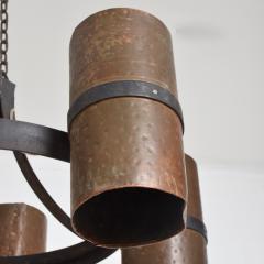 Brutalist Architectural Chandelier Hammered Copper Iron Vintage 1960s Mexico - 1553721