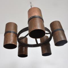 Brutalist Architectural Chandelier Hammered Copper Iron Vintage 1960s Mexico - 1553722