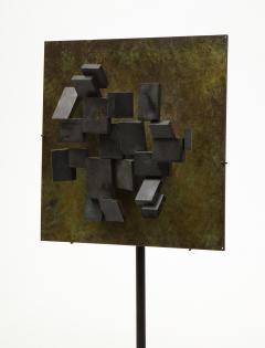 Brutalist Bronze Piece on Stand 20th Century - 1327144