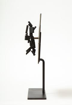 Brutalist Bronze Piece on Stand 20th Century - 1327145
