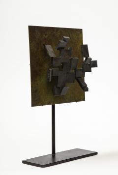 Brutalist Bronze Piece on Stand 20th Century - 1327148